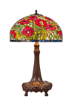 Lampe de table Tiffany coquelicot pied acajou<br/>. Artistar.