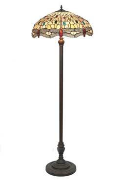 Libellule lampadaire style Tiffany à cabochons multicolores. Artistar.