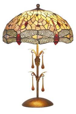 Libellule lampe moyen modèle style Tiffany à cabochons multicolores. Artistar.