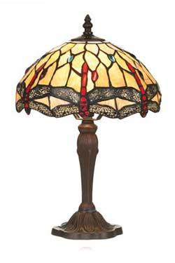 Libellule lampe petit modèle style Tiffany à cabochons multicolores. Artistar.