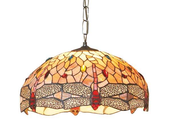 Libellule suspension grand modèle style Tiffany à cabochons multicolores 2 lumières. Artistar.