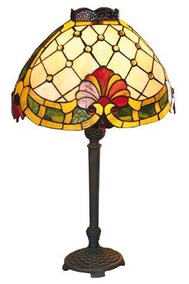 Maxime lampe style Tiffany coquille jaune et rouge. Artistar.