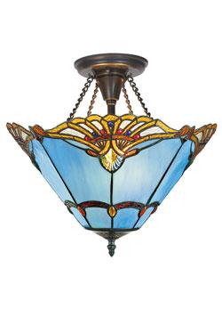 Plafonnier Tiffany bleu. Artistar.