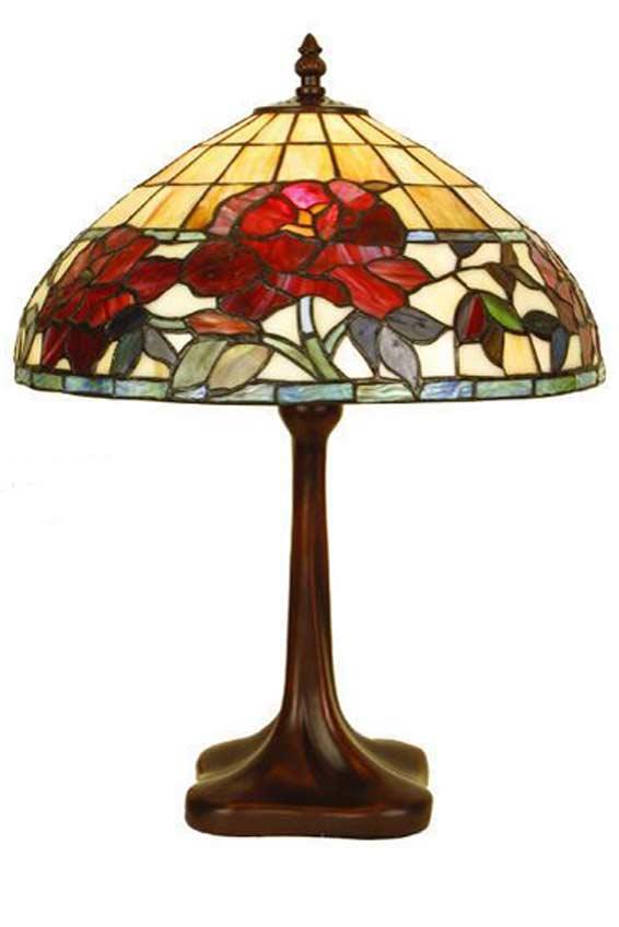 Rose Rouge lampe moyen modèle en verre style Tiffany . Artistar.