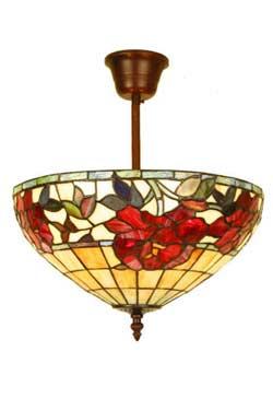 Rose Rouge plafonnier en verre style Tiffany 3 lumières. Artistar.