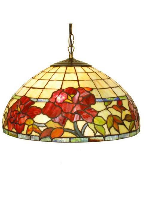 Rose Rouge suspension en verre style Tiffany 1 lumière. Artistar.