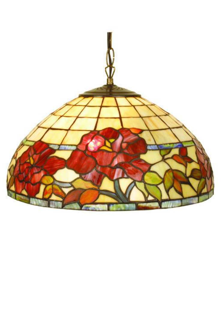 Rose Rouge suspension en verre style Tiffany 2 lumières. Artistar.