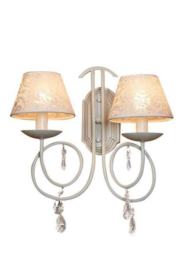 Venezia applique en métal laqué blanc et pampilles. Artistar.