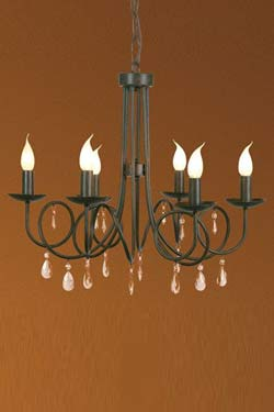 Venise lampadaire en métal noir et pampilles. Artistar.