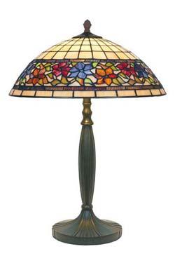 Violette lampe style Tiffany à fleurs moyen modèle. Artistar.