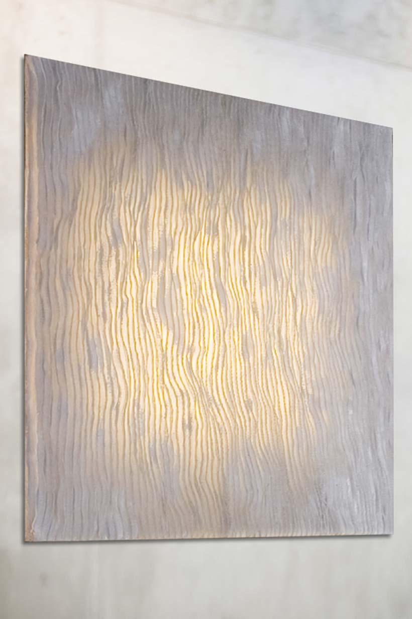 applique carr e en tableau tissu pliss gris arturo. Black Bedroom Furniture Sets. Home Design Ideas