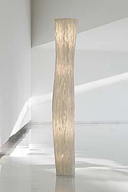 Lampadaire cylindre tissu plissé blanc siliconé Gea. Arturo Alvarez.