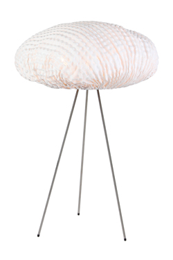 Lampe trépied blanche en tissu Simetech Tati . Arturo Alvarez.