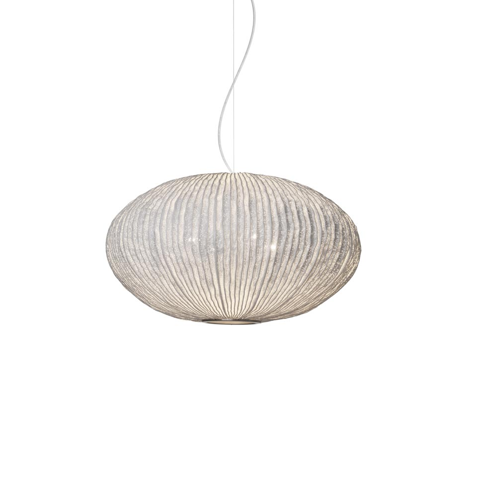 Suspension ronde blanche tissu pliss silicon coral for Suspension luminaire ronde