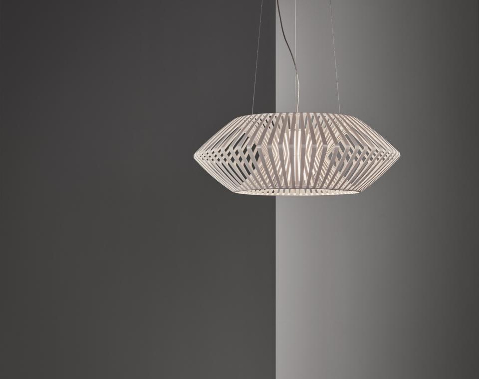 V Geometric Pendant Light 80cm White
