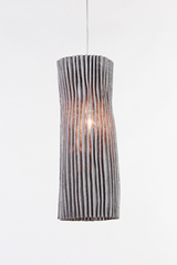 Gray cylindrical pendant in pleated fabric Gea. Arturo Alvarez.