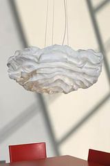 Nevo white pleated fabric flower hanging lamp. Arturo Alvarez.
