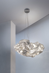 Very large white flower pendant in white Nevo Simetech fabric. Arturo Alvarez.