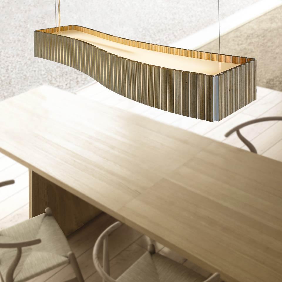 Suspension lattes de bois weng forme rectangulaire for Suspension rectangulaire