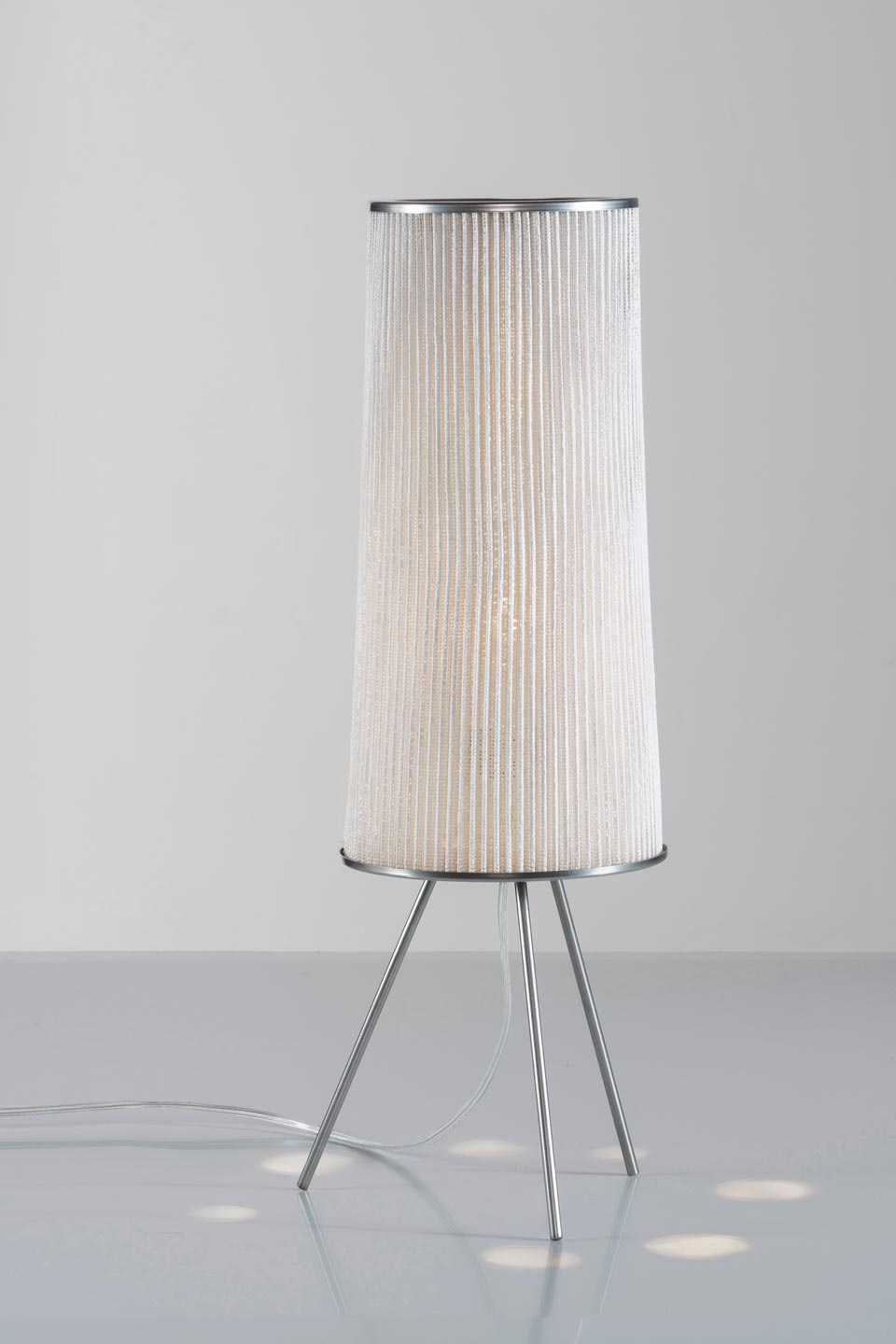 Table Lamp Stainless Steel Base And Cylinder Lampshade White Finish
