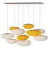 Tati  grande composition 10 lumières en tissu siliconé Simetech blanc et jaune. Arturo Alvarez.