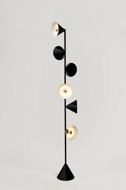 Lampadaire Design métal noir 6 lumières. Atelier Areti.