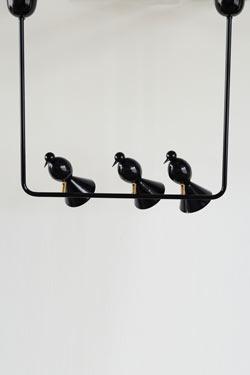 Suspension Alouette design noire 3 oiseaux. Atelier Areti.