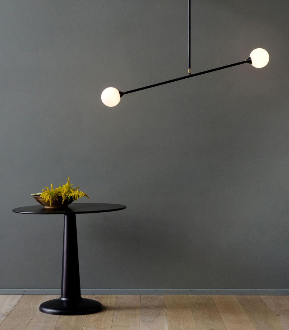 two spheres suspension tiges et globes de verre d poli atelier areti luminaires design en. Black Bedroom Furniture Sets. Home Design Ideas