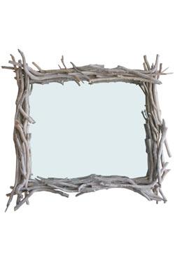Grand miroir carr en bois flott par l 39 atelier du bois flott r f 110 - Grand miroir bois flotte ...
