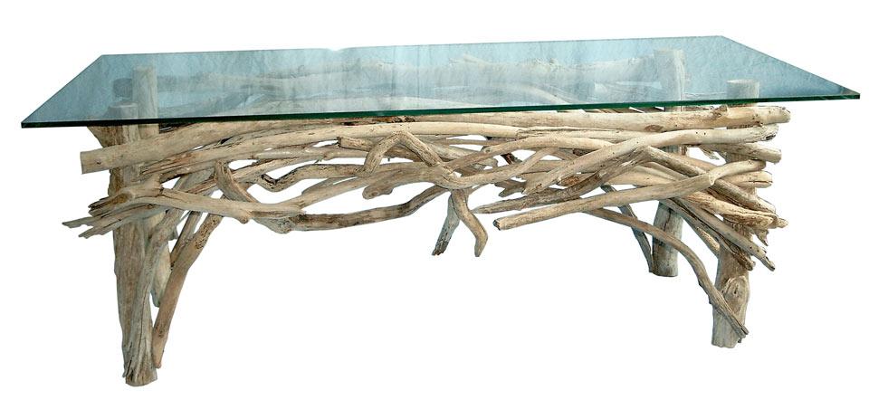 Honfleur table basse en bois flott par l 39 atelier du bois for Table basse bois flotte