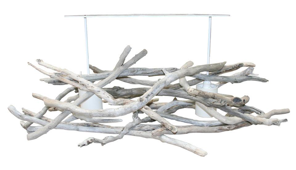 Le zout grand lustre par l 39 atelier du bois flott r f 11010059 - Lustre en bois flotte ...