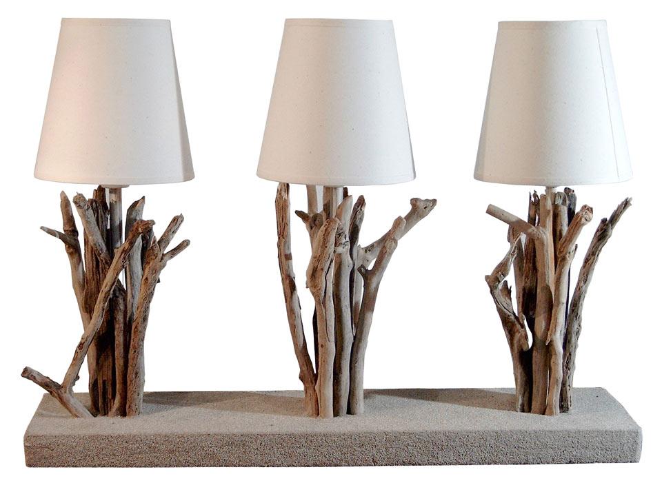 Tr portaise lampe de table 3 lumi res par l 39 atelier du bois flott r f - Objet decoration design pas cher ...