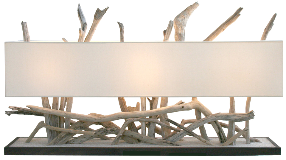 One life lampe de table en bois flott par l 39 atelier du for Miroir a poser sur table