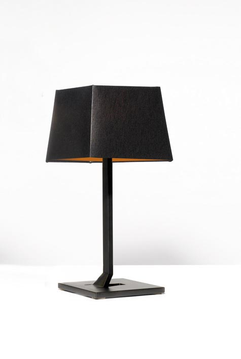 Memory Small Black And Gold Table Lamp, Black Square Base Table Lamp