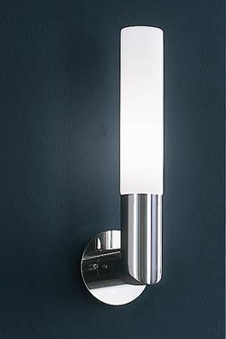 Applique cylindrique chrome et verre dépoli. Baulmann Leuchten.