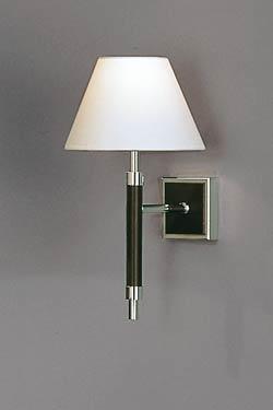 Applique en noyer foncé, métal nickelé poli et chintz blanc grand modèle. Baulmann Leuchten.