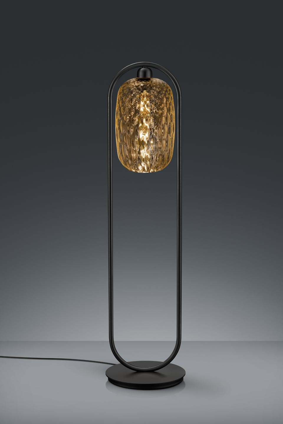 Small Design Floor Lamp In Amber Gl