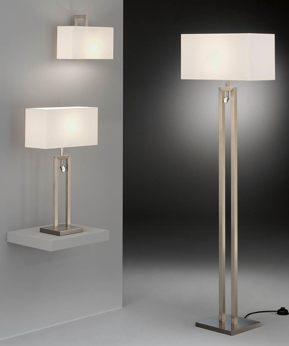 Floor Lamp With Matt Nickel Led Reading Light And White Chintz Lampshade Baulmann Leuchten Luxury Lightings Made In Germany Réf 12070029
