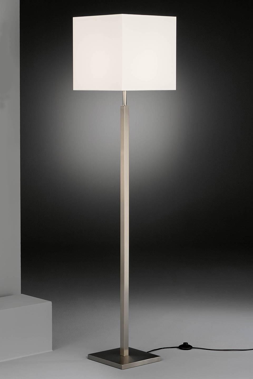 Lampadaire carré métal nickelé mat et abat-jour en chintz blanc. Baulmann Leuchten.