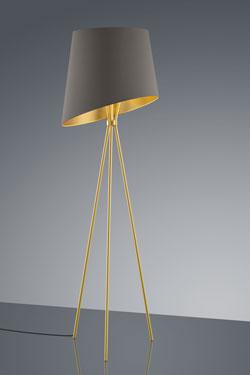 Lampadaire trépied doré, abat-jour tissu intérieur doré. Baulmann Leuchten.