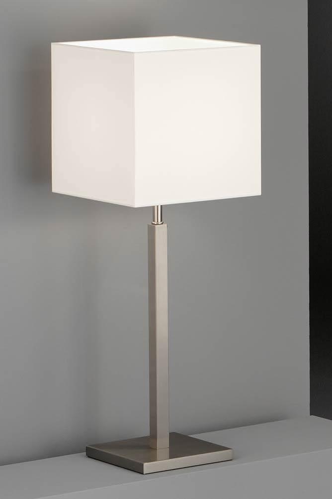 lampe carr e m tal nickel mat et abat jour en chintz blanc baulmann leuchten luminaire de. Black Bedroom Furniture Sets. Home Design Ideas
