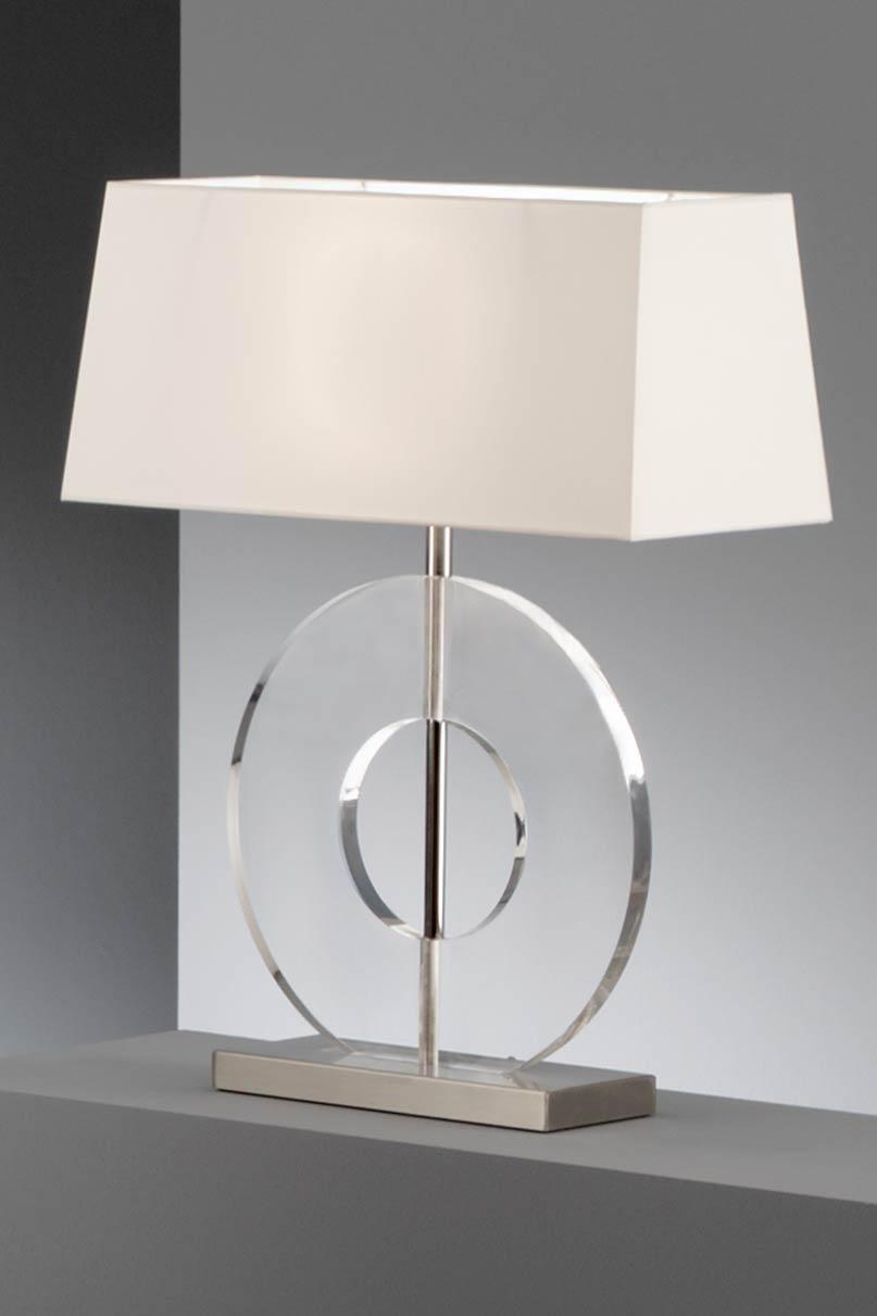 Lampe faible paisseur disque en acrylique transparent et chintz blanc baulm - Lampe a poser contemporaine ...