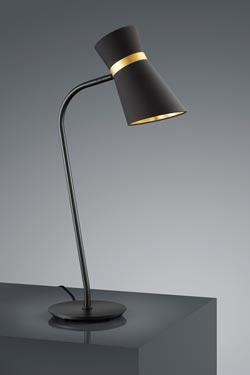 Lampe de table avec abat-jour de chintz noir intérieur doré . Baulmann Leuchten.