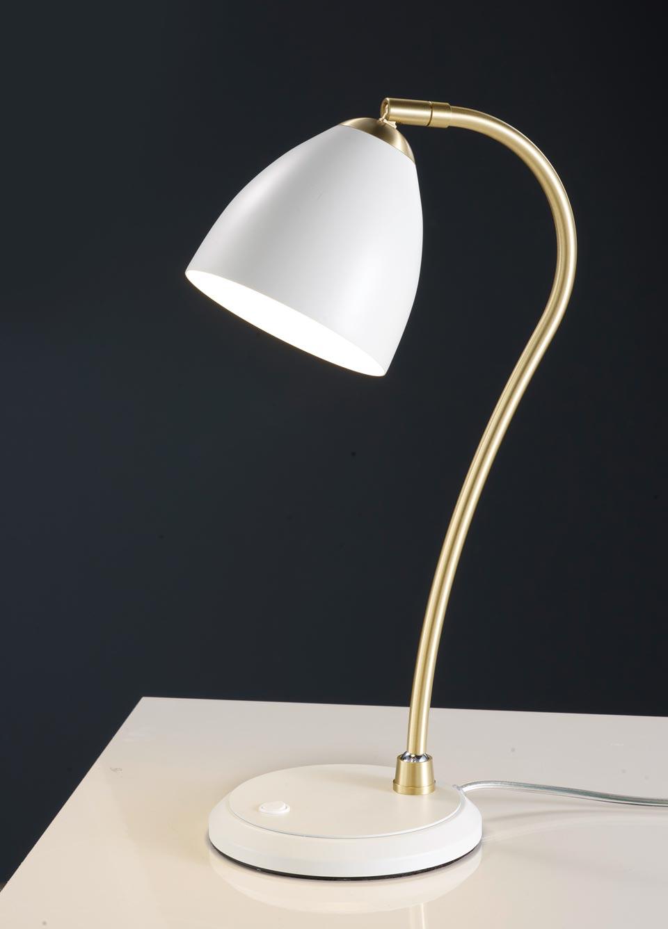 Lampe de table blanche et laiton satiné. Baulmann Leuchten.