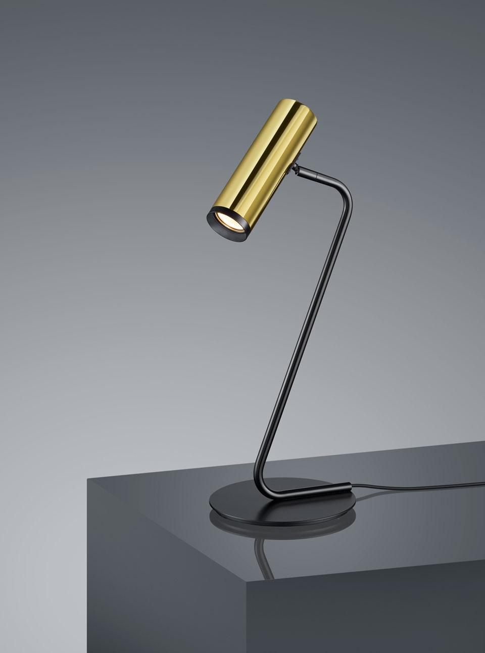 Lampe De Table Design Doree Et Noire Baulmann Leuchten Luminaire