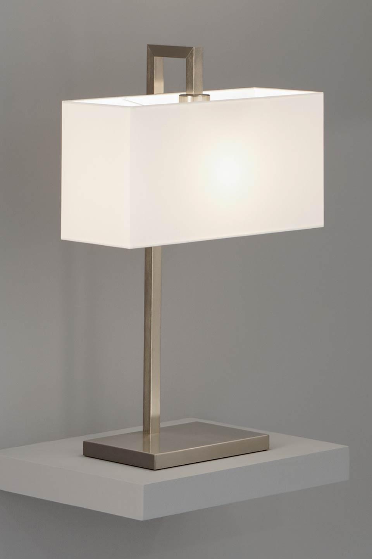 Lampe de table nickel mat et abat jour chintz blanc for Lampe de table contemporaine