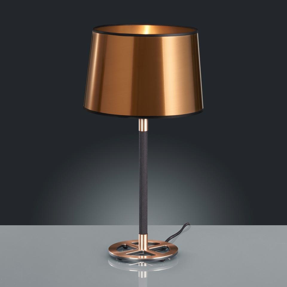 Lampe de table noire et cuivrée. Baulmann Leuchten.