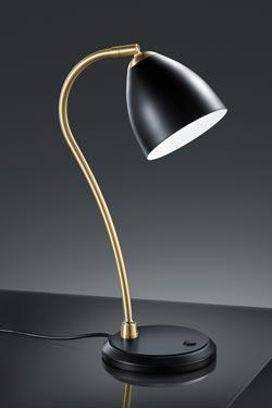 Lampe de table noire et laiton satiné. Baulmann Leuchten.