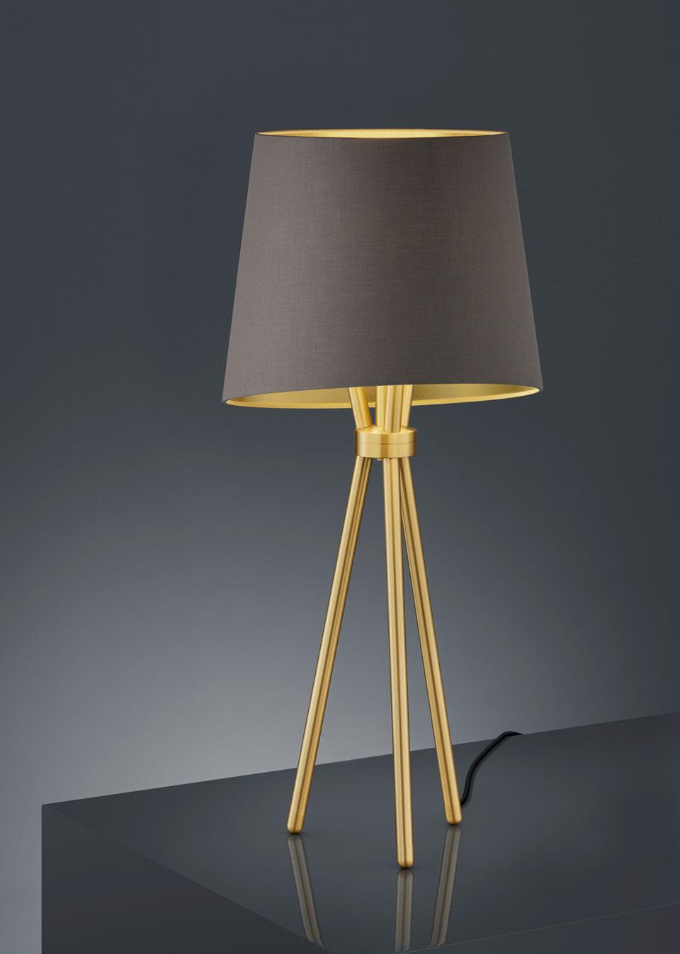Lampe de table trépied doré et tissu vert olive. Baulmann Leuchten.
