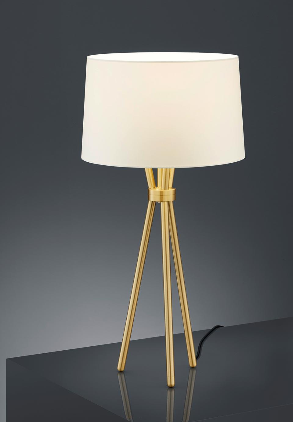 Lampe de table trépied en laiton mat. Baulmann Leuchten.
